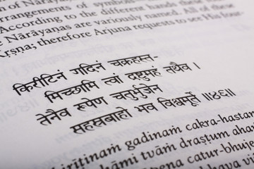 Close-up of text from the Bhagavad Gita
