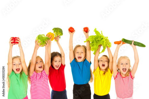 Children  with vegetables - 58335284