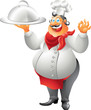 laughing chef with plate isolated