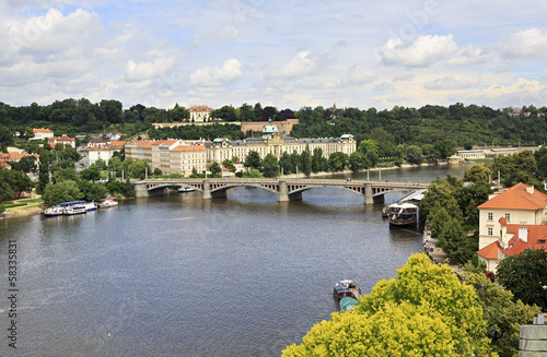 Vltava River in Prague's historical center.