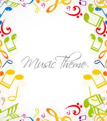 abstract music notes stylish multicolorful white background illu