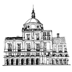 urban sketch of the Royal Palace in Aranjuez