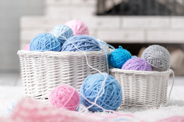Basket with balls of yarn