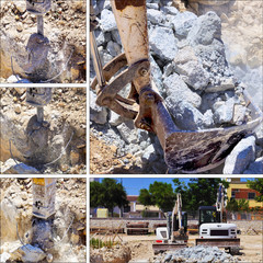Collage construction site: Excavator with hammer