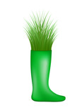 Grass growing from green rubber boot
