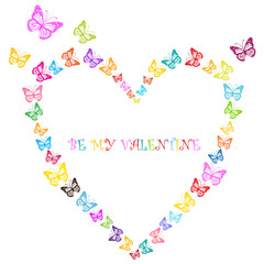 valentine design with butterflies heart