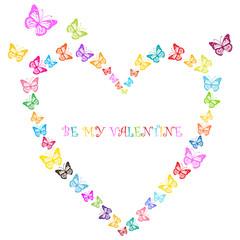 valentine design with butterflies heart