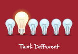 think different over red background vector illustration poster