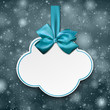 White cloud gift card with blue satin bow.