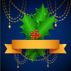 Christmas Holly Berry Illustration. mistletoe background