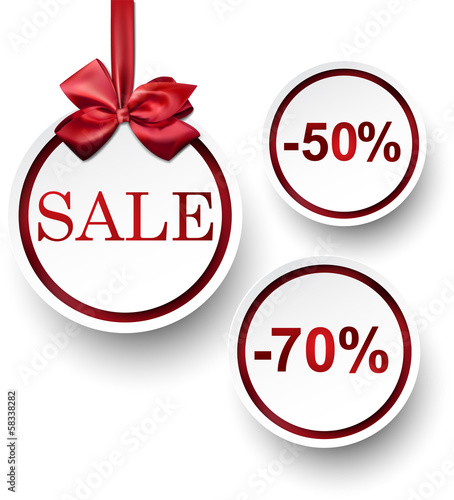 White paper round sale labels.
