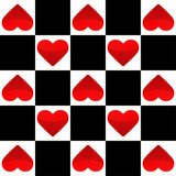 Seamless texture with chess board and small red hearts