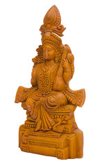 Close-up of a figurine of Goddess Saraswati