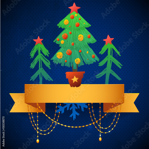 Old paper with ribbons and gold garland. Christmas tree