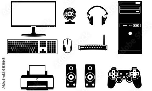 Computer components vector set