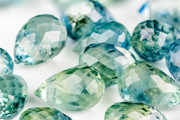 Blue and green sapphire briolettes