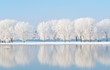 Leinwanddruck Bild - winter landscape with beautiful reflection in the water