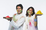 Couple celebrating Holi