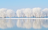 Fototapety winter landscape with beautiful reflection in the water