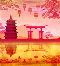 Nouvel an chinois carte - lanternes traditionnelles et des bâtiments asiatiques