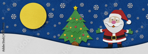 Santa claus recycled papercraft background.