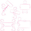 Set of icons of person, robot, man with paper, board, signboard
