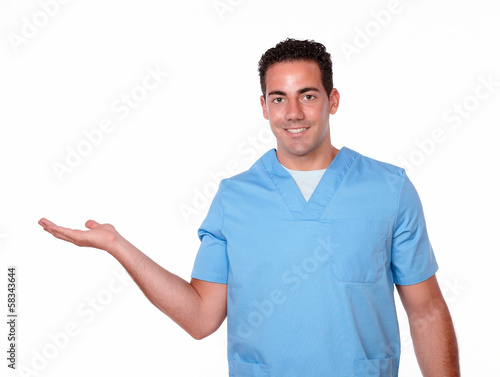 Nurse man holding out his right palm