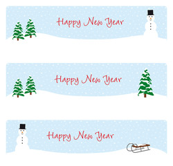 happy new year banner schnee