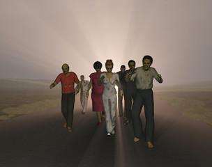 Zombis caminando por una carretera