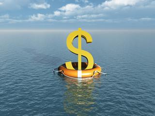 Símbolo de dinero flotando sobre un salvavidas