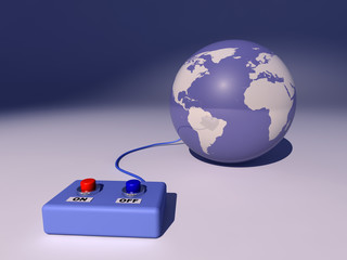 Globo terráqueo conectado a un mando de encendido y apagado
