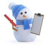 Snowman has a clipboard