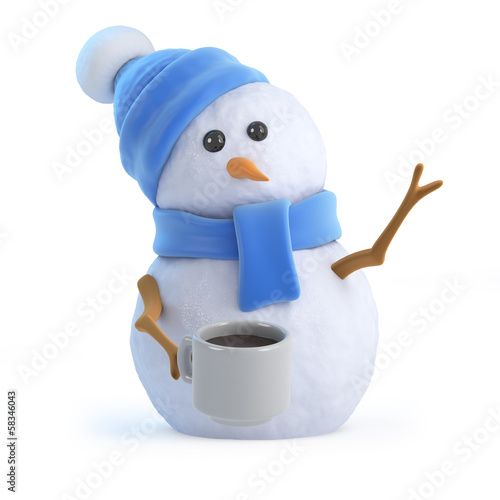 Snowman has a nice warm drink
