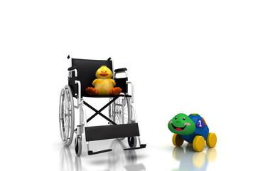Sedia a rotelle, bambino, ospedale, giochi