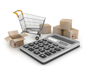 Shopping Cart with Boxes over Tablet PC on a white background