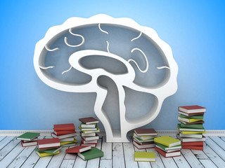 book shelf in form of brain on formulas backgrounds