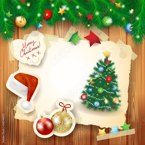 Christmas background with paper elements and fir