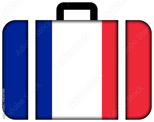 Suitcase with France Flag