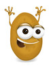 Happy potato cartoon character, smiling and waving hands.