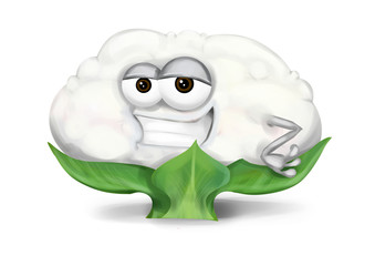 Cool funny cauliflower cartoon character with a big smile.