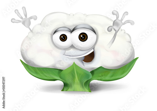 Happy cauliflower cartoon character, smiling and waving hands.