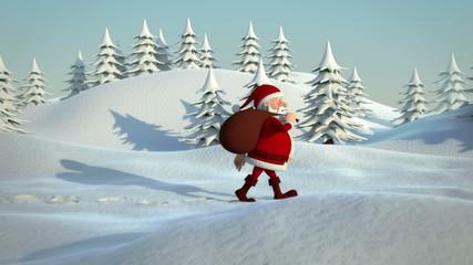santa claus walking through snowy landscape