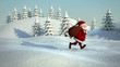 santa claus running through snowy landscape