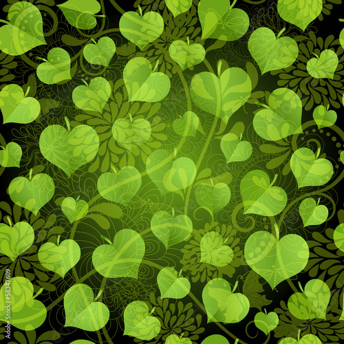 Dark seamless pattern with green leaves