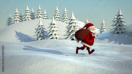 santa claus running through snowy landscape