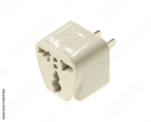 Travel plug adapter isolated on white background