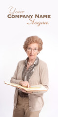 Senior lady pointing a page in a book