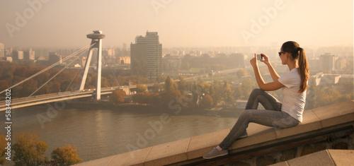 girl take picture Bratislava - 58348202