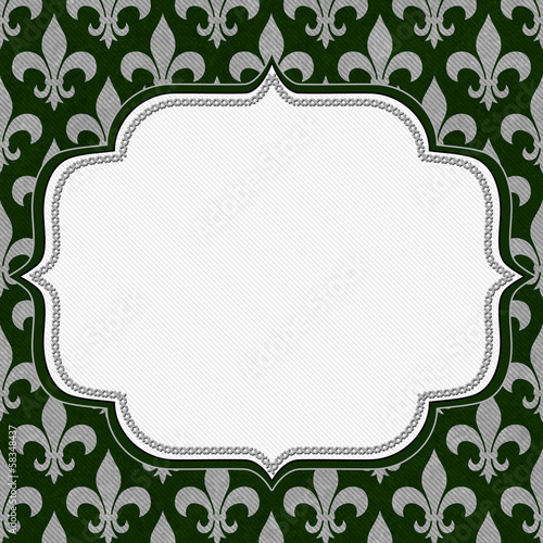 Green and Gray Fleur De Lis Textured Fabric Background