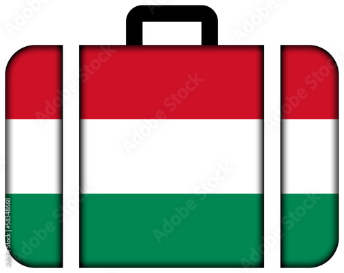 Suitcase with Hungary Flag